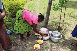 The Water Project: Lukala C Community, Livaha Spring -  Serving Participants Food