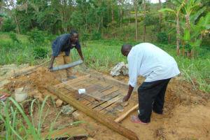 The Water Project: Lukala C Community, Livaha Spring -  Sanitation Platform Construction