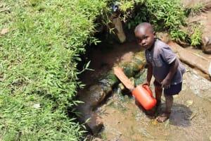 The Water Project: Mukoko Community, Zebedayo Mutsotsi Spring -  Collecting Water Manuel