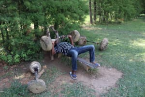 The Water Project: Shivagala Community, Alois Chiedo Spring -  Bruz Exercising Using Locally Made Gym Equipment