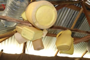 The Water Project: Shivagala Community, Alois Chiedo Spring -  Empty Jerrycans Stored In Rafters