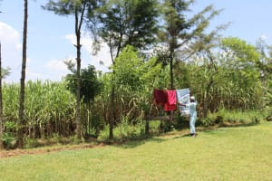 The Water Project: Shivagala Community, Alois Chiedo Spring -  Airing Clothes To Dry