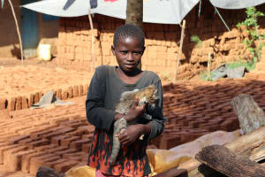 The Water Project: Shianda Community, Panyako Spring -  A Child And Cat Outside Their Home