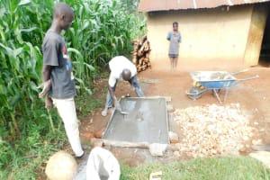 The Water Project: Mukhweso Community, Shemema Spring -  Casting A Sanitation Platform