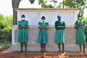 The Water Project: St. Peters Bwanga Primary School -  Girls At Their New Latrines