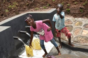 The Water Project: Mukhweso Community, Shemema Spring -  Kids Pose At The Spring