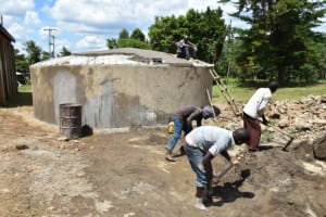 The Water Project: St. Peters Bwanga Primary School -  Mixing Cement For Dome