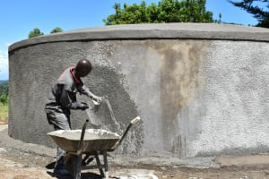 The Water Project: St. Peters Bwanga Primary School -  Roughcasting The Walls