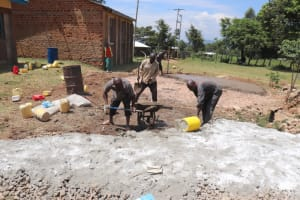 The Water Project: St. Peters Bwanga Primary School -  Laying The Tank Foundation
