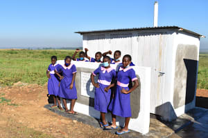 The Water Project: Eshimuli Primary School -  Girls Pose At Their Newly Constructed Vip Latrines
