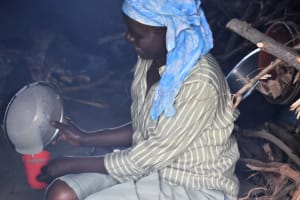 The Water Project: Mukambi Baptist Primary School -  School Cook At Work Inside The Kitchen