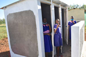 The Water Project: Eshimuli Primary School -  Girls Give Thumbs Up For Their New Latrines