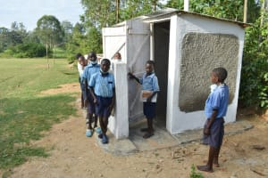 The Water Project: Isango Primary School -  Boys At Their New Latrines
