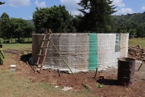 The Water Project: St. Peters Bwanga Primary School -  Tank Covered In Sugar Sacks