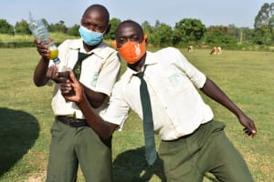 The Water Project: ACK St. Peter's Khabakaya Secondary School -  Boys Excited About Using Soap For Handwashing