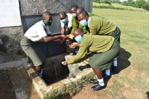 The Water Project: ACK St. Peter's Khabakaya Secondary School -  Girls Celebrate Clean Water On Campus