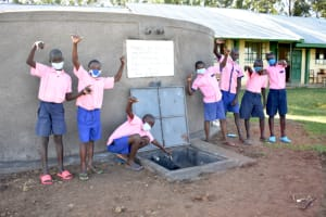 The Water Project: Eshimuli Primary School -  Students Celebrate The Rain Tank