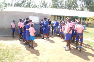 The Water Project: Eshimuli Primary School -  Trainer Joyce In Action During Site Management