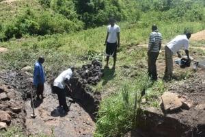 The Water Project: Bukalama Community, Wanzetse Spring -  Excavating Foundation Area