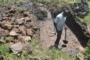 The Water Project: Bukalama Community, Wanzetse Spring -  Foundation Area Cleared