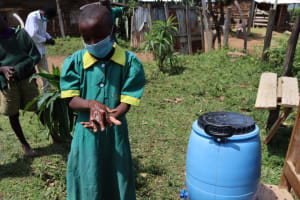 The Water Project: St. Peters Bwanga Primary School -  Nancy Demonstrates Her Handwashing Prowess