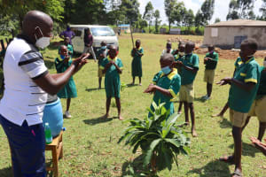 The Water Project: St. Peters Bwanga Primary School -  The Handwashing Exercise In Progress
