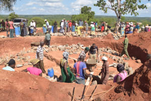 The Water Project: Kamuwongo Primary School -  Working On Tank Grounds