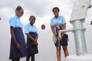 The Water Project: Lungi, International High School For Science & Technology -  Students Looking At Clean Water Flowing