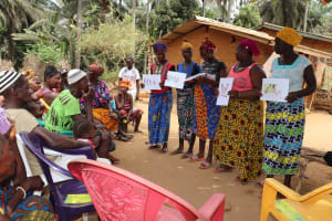 The Water Project: Lokomasama, Gbonkogbonko Village -  Participants Displaying Disease Transmission Story Posters