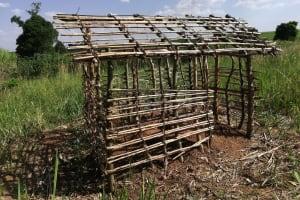 The Water Project: Nsamya Nusaff II Well -  Latrine Under Construction