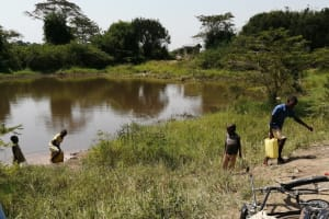 The Water Project: Rwenziramire Community -  Children Hauling Water From The Open Source