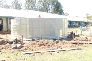 The Water Project: Eshimuli Primary School -  Sacks Tied Around Tank For Support