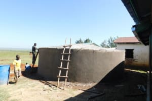 The Water Project: Eshimuli Primary School -  Smoothing Outer Walls And Preparing Dome