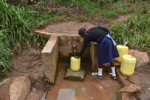 The Water Project: Kabinjari Primary School -  Fetching Water From The Spring