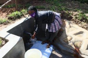 The Water Project: Mukhungula Community, Mulongo Spring -  Enjoying The Water
