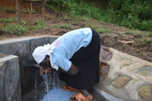 The Water Project: Mukhungula Community, Mulongo Spring -  Getting A Drink