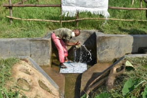 The Water Project: Kalenda A Community, Webo Simali Spring -  Kevin Enjoying The Spring Water
