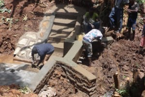 The Water Project: Shihome Community, Peter Majoni Spring -  Plastering Of The Spring Walls