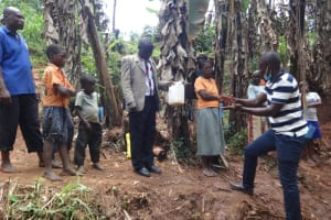 The Water Project: Shihome Community, Peter Majoni Spring -  Handwashing Steps Demonstration