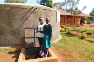 The Water Project: Majengo Primary School -  Field Officerjacklyne With Nelson At The Rain Tank