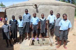 The Water Project: Namakoye Primary School -  Students At The Rain Tank
