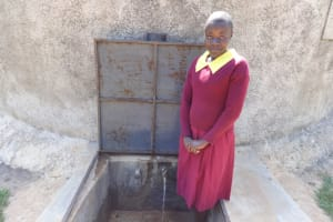 The Water Project: Shibinga Primary School -  Anita At The Rain Tank