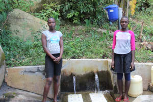 The Water Project: Bukhakunga Community, Khayati Spring -  Florah And Another Girl At The Spring
