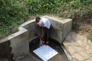 The Water Project: Lukova Community, Wasike Spring -  Enjoying Spring Water