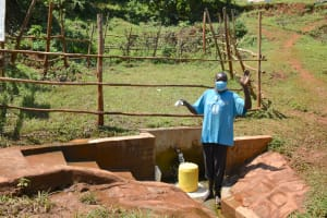 The Water Project: Mutao Community, Kenya Spring -  George Poses At The Spring