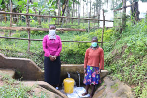 The Water Project: Buhayi Community, Nasichundukha Spring -  Field Officer Rose And Anne
