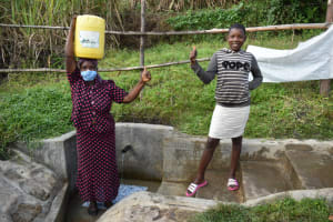 The Water Project: Bukhaywa Community, Shidero Spring -  Gloria With Margret At The Spring