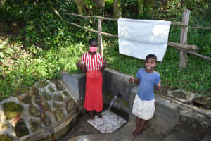 The Water Project: Bukhaywa Community, Ashikhanga Spring -  Melissa And Anastacia At The Spring