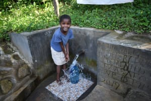 The Water Project: Bukhaywa Community, Ashikhanga Spring -  She Was All Smiles Fetching Water