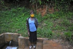 The Water Project: Bumira Community, Imbwaga Spring -  Getrude At The Spring